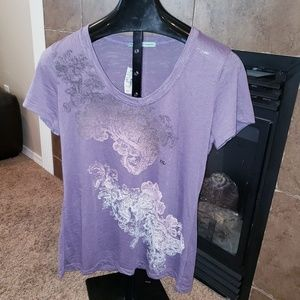 MAURICES SCOOP NECK OMBRE PAISLEY GRAPHIC TSHIRT
